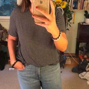 Brandy Melville blue and white striped tee